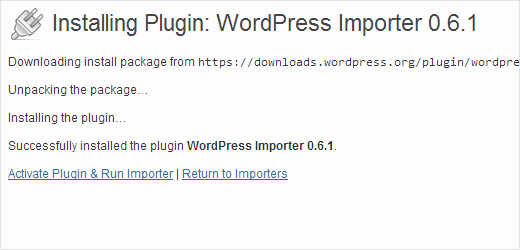 Running WordPress Importer after activation