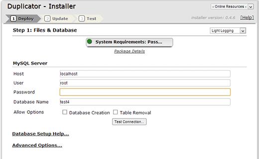Running duplicator install script on localserver