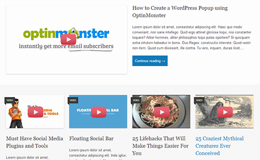 An example of video thumbnails in WordPress