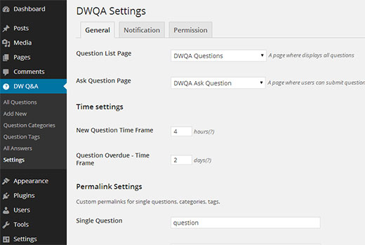 DW Q&A General Settings