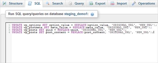 Running SQL query in phpMyAdmin