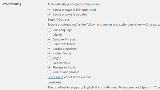 Configure proofreading settings