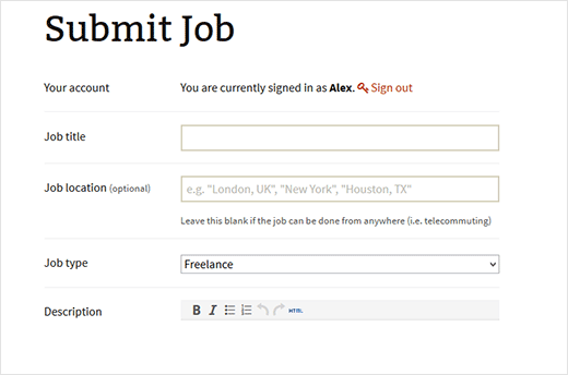 Submit job form to add new job listings