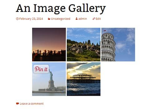 Pin it button on images in a WordPress image gallery
