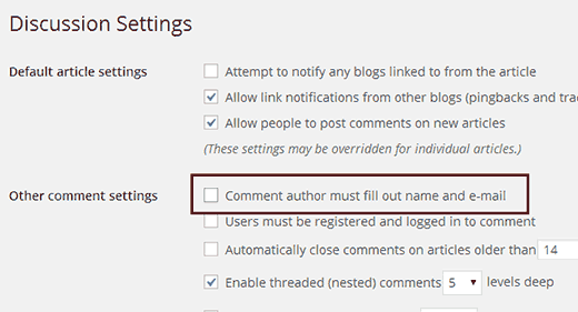 Disable name and email address as required fields in WordPress comment form