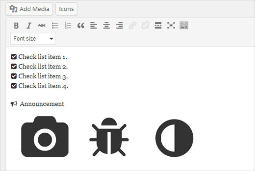Adding icon fonts in WordPress posts and pages
