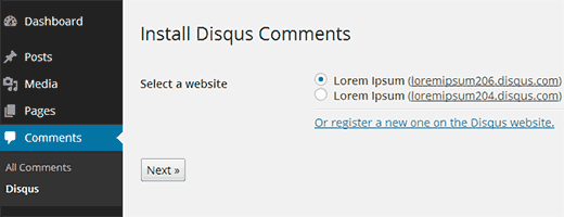 Select your site to install Disqus comments