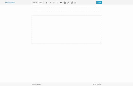 Volledig scherm-editor in WordPress