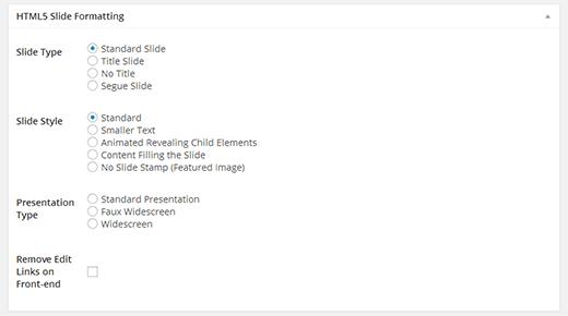HTML5 Slide Formatting
