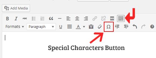 Speciale tekens knop in WordPress visuele editor