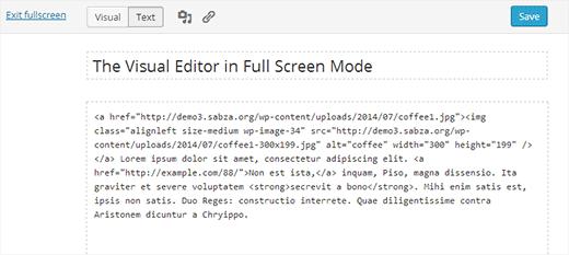 Teksteditor op volledig scherm