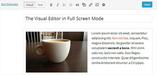 Visuele editor op volledig scherm in WordPress