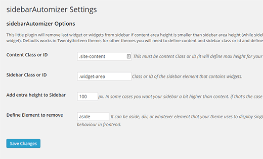 Sidebar Automizer settings