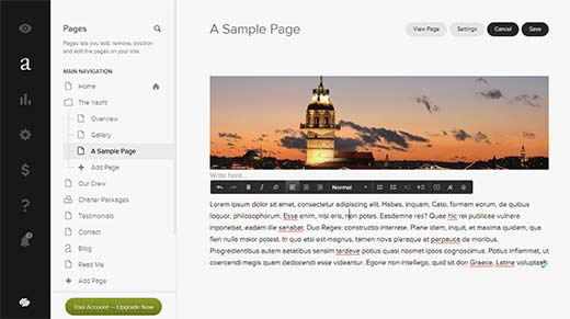 Page editing in Squarespace