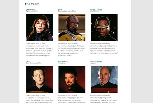 Staff member profiles displayed in a nice grid