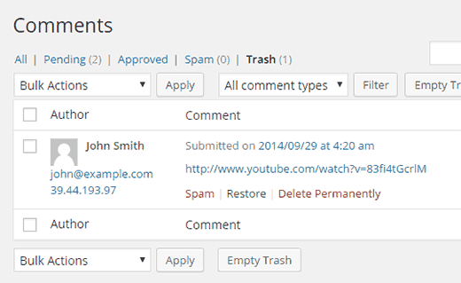 Restoring a comment from trash in WordPress