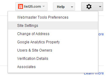 Google Webmaster Tools Settings