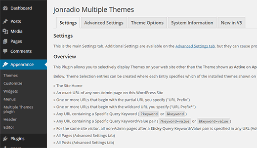 Multiple Themes plugin settings