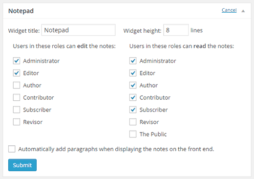 Configure notepad widget settings