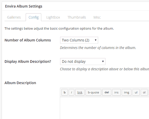 Configuring album appearance