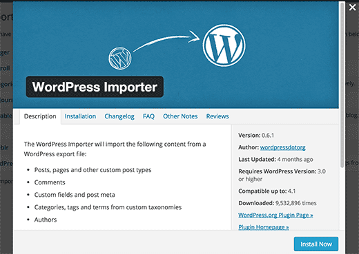 Installing WordPress importer plugin