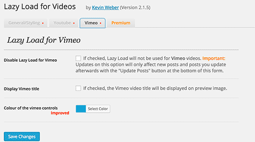 Lazy load for Vimeo
