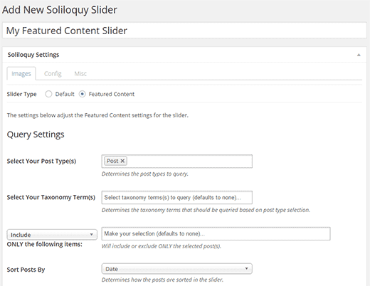 Adding a new featured content slider in WordPress using Soliloquy