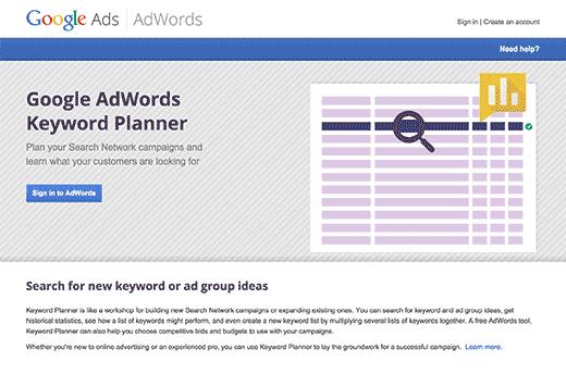 google keyword planner - بهترین افزونه های وردپرس SEO و ابزارهایی که باید از آن ها استفاده کنید.(قسمت اول)