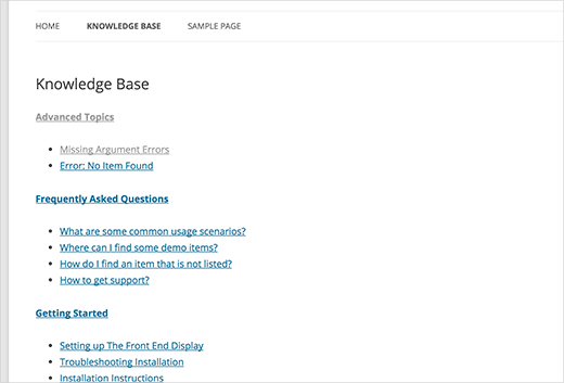 Plain knowledge base section with no CSS