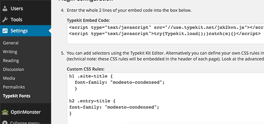 Adding Typekit embed code in WordPress