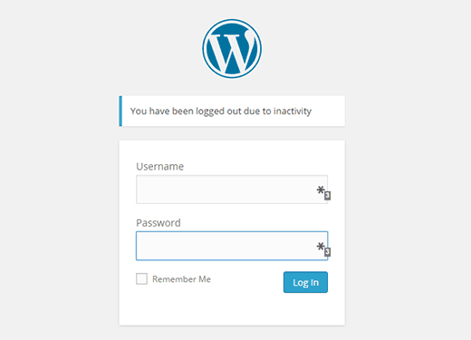 WordPress idle logout message