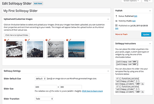 Creating a slideshow with Soliloquy WordPress slider plugin