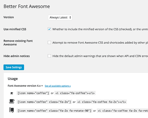 Settings page for better Font Awesome plugin
