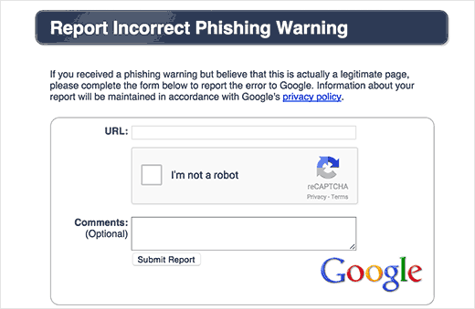 Incorrect phishing warning report