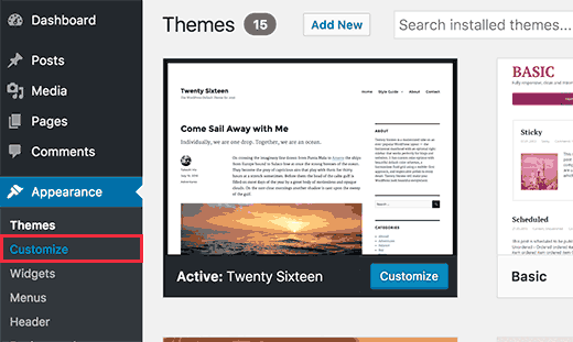 Launching theme customizer in WordPress