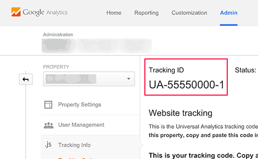 UA tracking id in Google Analytics