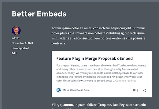 WordPress post embeds