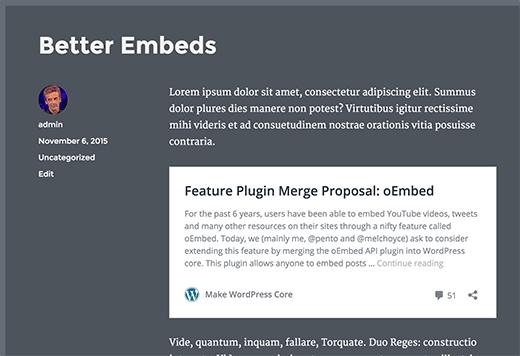 WordPress post embeds