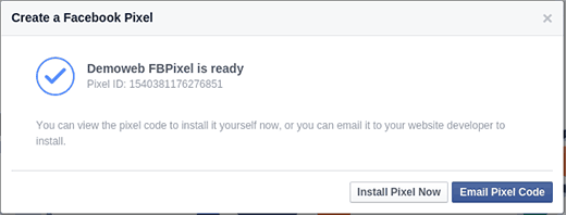 Facebook Pixel is ready for installation