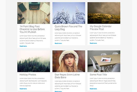 WordPress posts displayed in a grid layout
