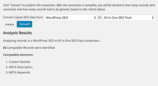 Analyzing compatible elements for SEO data transfer