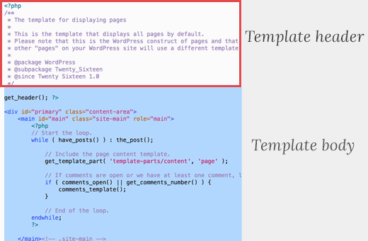 Template header of a typical page.php file in a WordPress theme