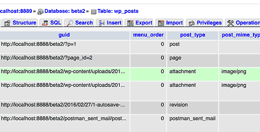 Database entry for attachment post type as seen in phpMyAdmin