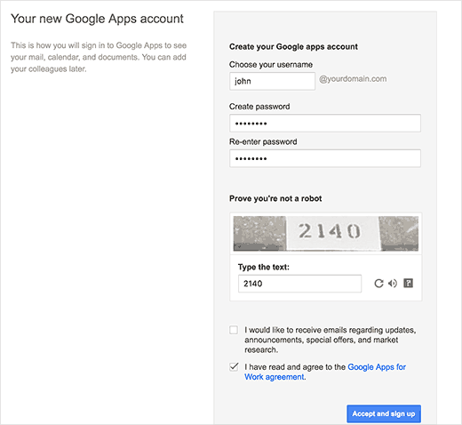 Creating your Google Apps account