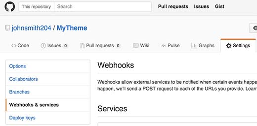 GitHub Webhooks and Services