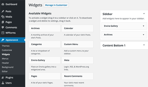 Widgets screen on a WordPress site