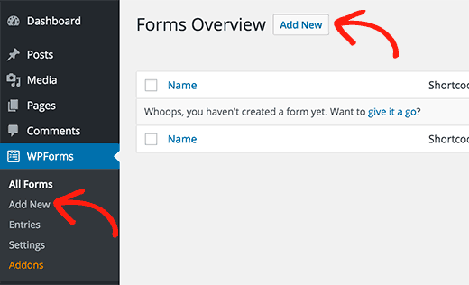 Adding a new contact form in WordPress using WPForms