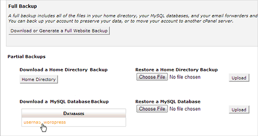 Download a WordPress database backup using cPanel