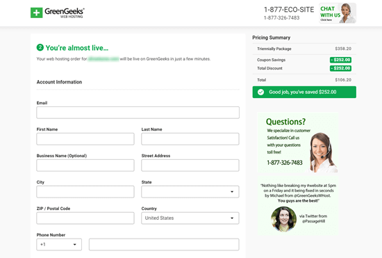 Enter your details to set up your GreenGeeks account