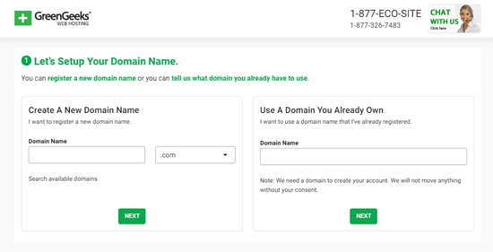 Set up your free domain name with GreenGeeks